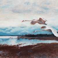 "Bruno Liljefors (Swedish, 1860-1939), ""Swans in Flight"""