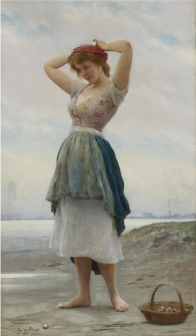 "Eugene de Blaas (Italian, 1843-1932), ""On the Beach"""