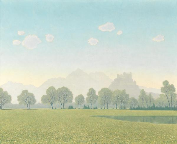 Felix Heuberger (Austrian, 1888–1968), View of the Hohensalzburg Castle, Hellbrunner Allee in the Foreground