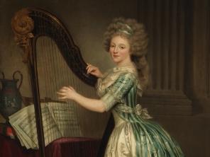 """Rose-Adélaïde Ducreux (French, (1761-1802), """"Self-Portrait with a Harp"""" (detail, 1791)"""